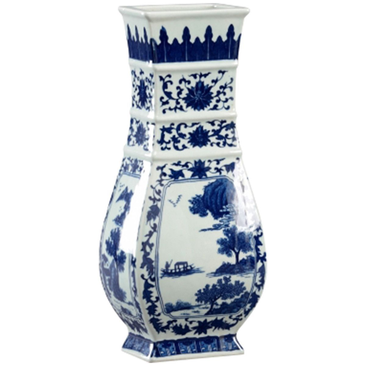 Chelsea House Stepped Blue and White Porcelain Vase