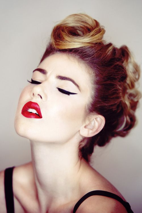Perfect red lipstick and eyeliner