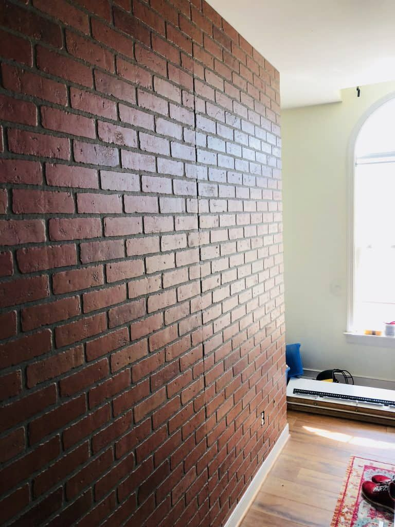 How To Install Faux Brick Paneling Place Of My Taste Fake Brick Wall Diy Faux Brick Wall Faux Brick Wall Panels