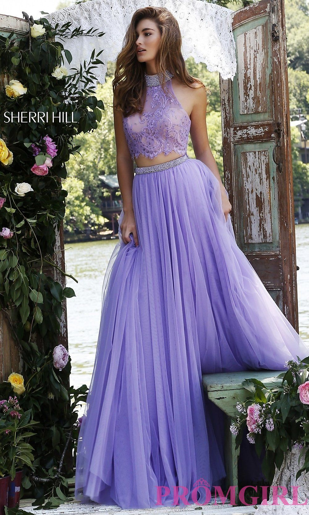 High Neck Sherri Hill Two Piece Prom Dress with Lace Top in Lilac ...