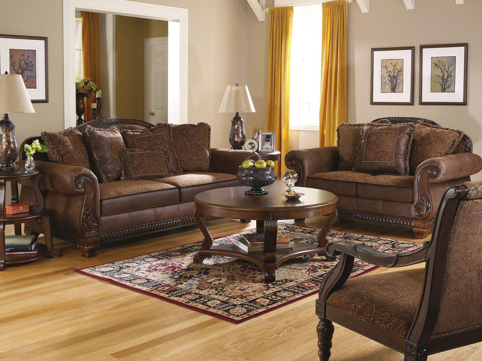 Brady Traditional Wood Trim Chenille Fabric Sofa Set Living Room Furniture
