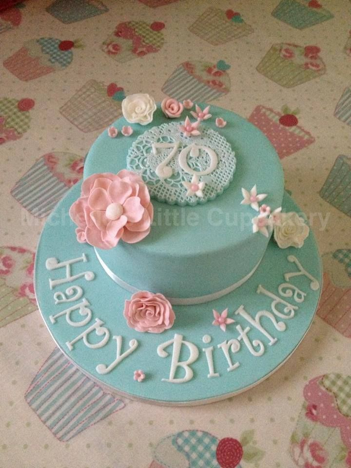Vintage 70th birthday cake Not blue but maybe can use some of
