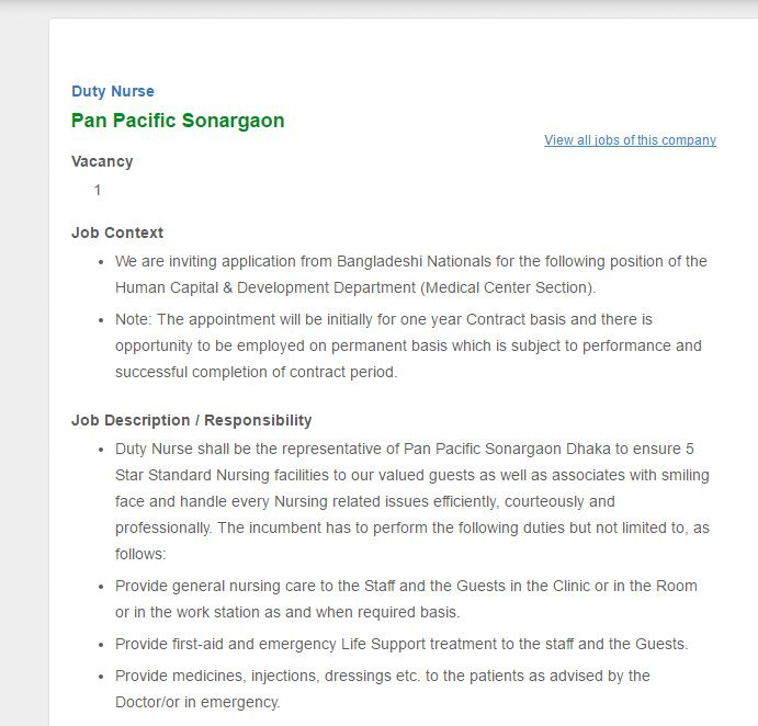 Pan Pacific Sonargaon Duty Nurse Job Circular VACANCY Job - Nurse Job Description