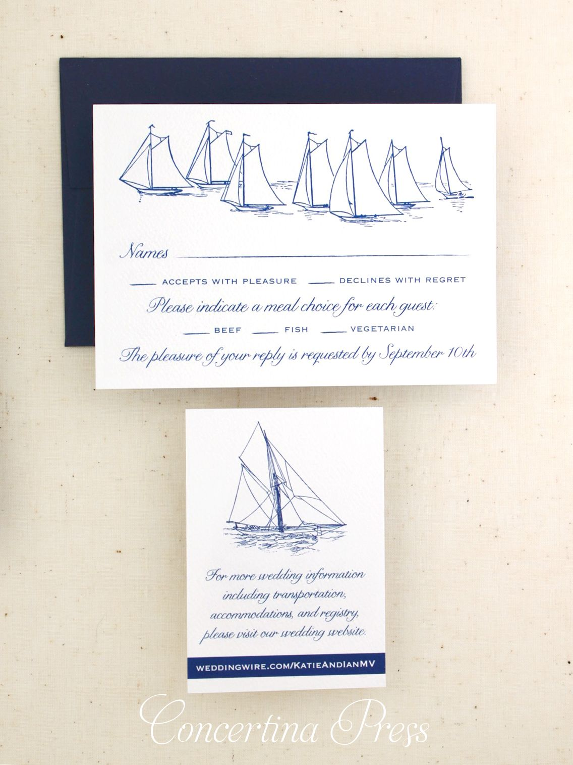 Sailboat RSVP from Sailboat and Waves wedding invitation set from ...