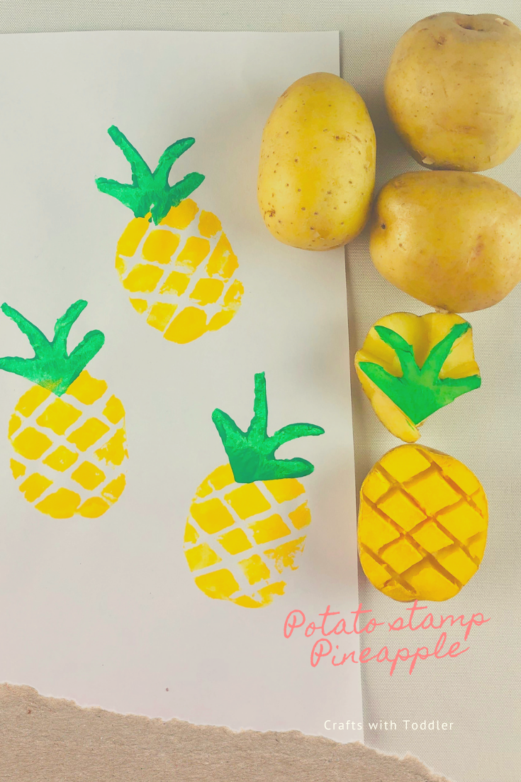 Potato stamp Pineapple 🍉🍉🍉 - Crafts with Toddler