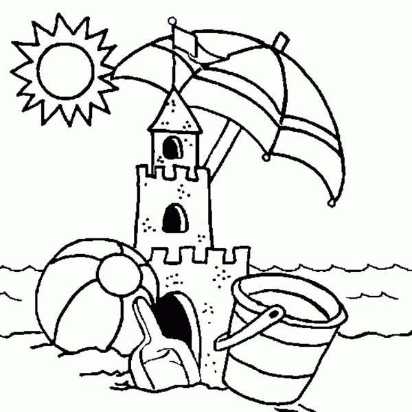 Sand Castle Coloring Page Printable