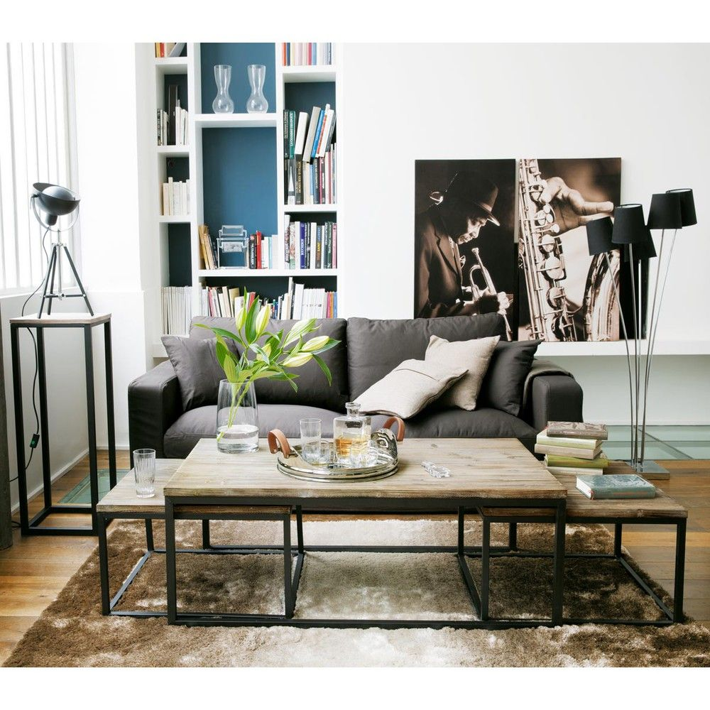 Nest of 3 Solid Fir and Metal Industrial Coffee Tables | Living ...