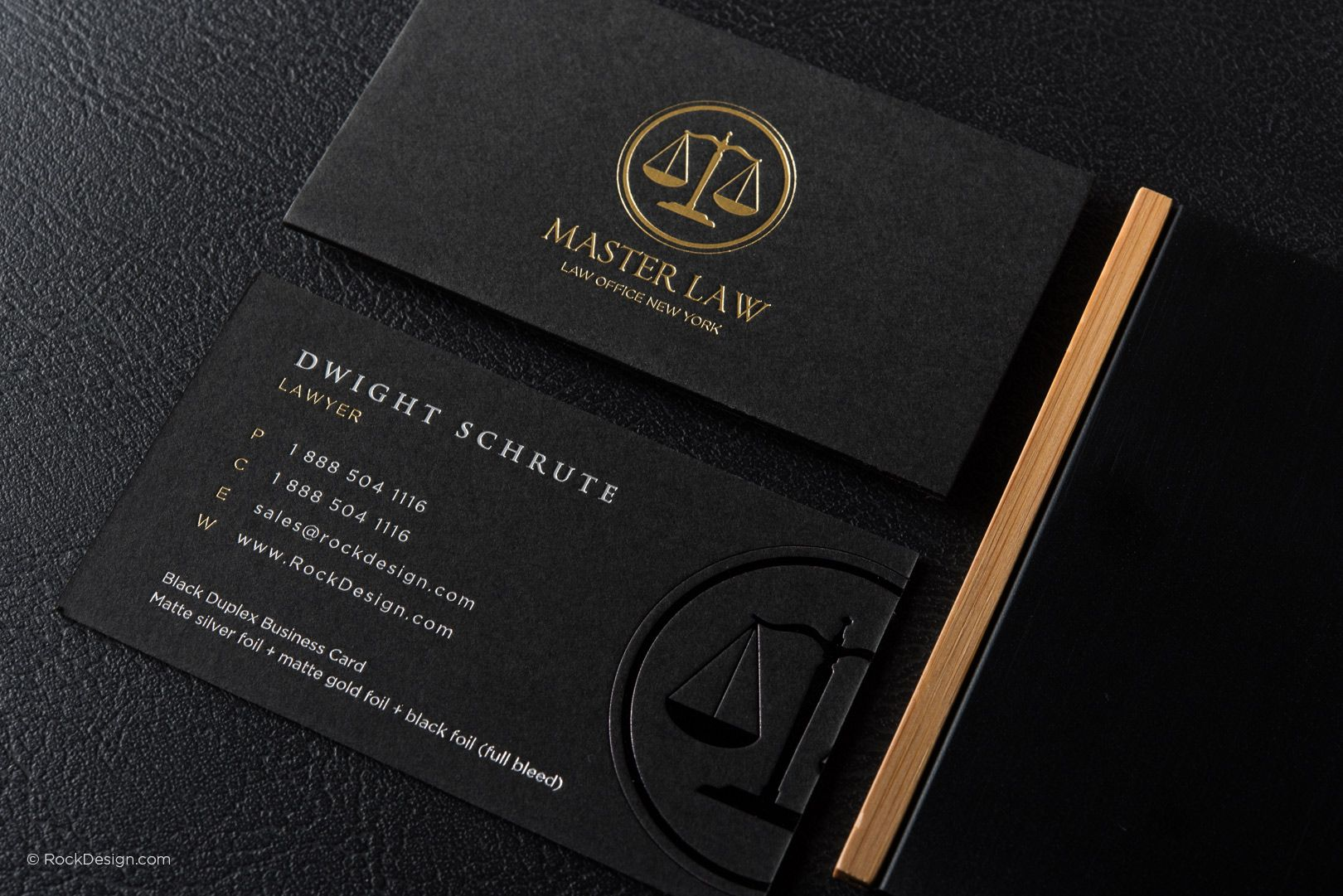 Classic modern black duplex attorney business card template master classic modern black duplex attorney business card template master law rockdesign luxury business card printing wajeb Images