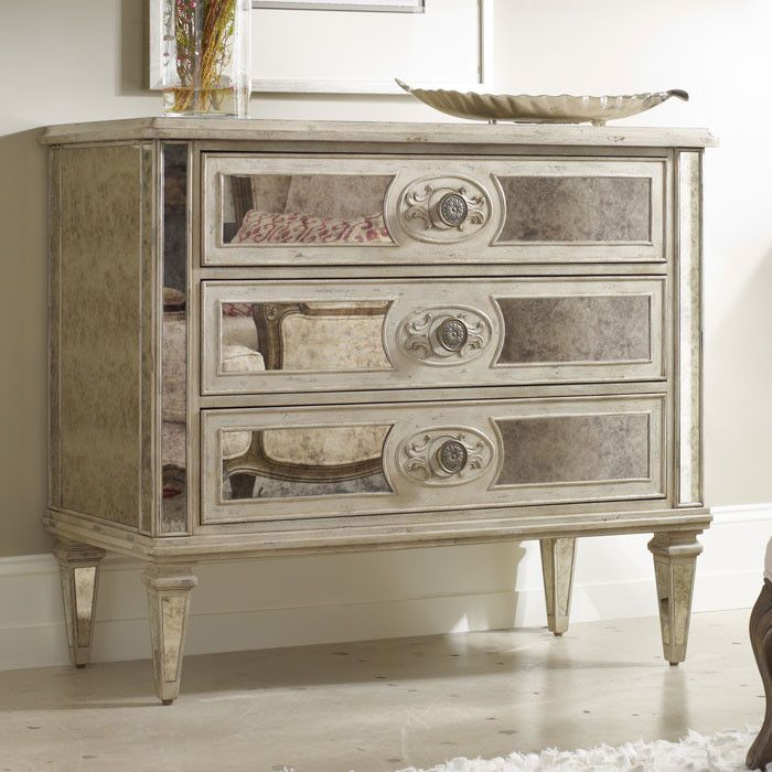 Love this antique mirrored accent chest