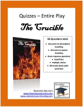 004 Complete Quiz set for The Crucible by Arthur Miller. Four