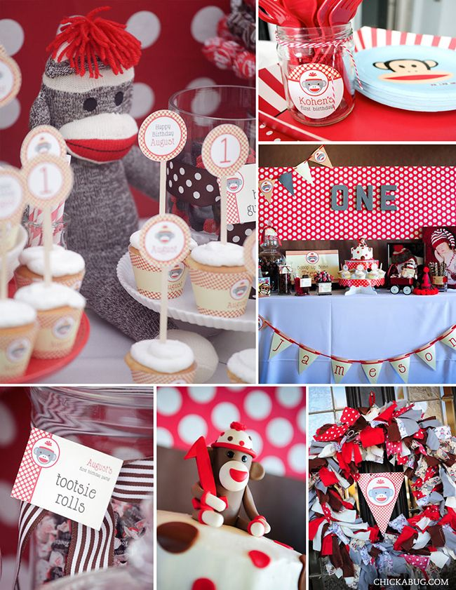 New in the shop Sock monkey birthday party printables kit Monkey