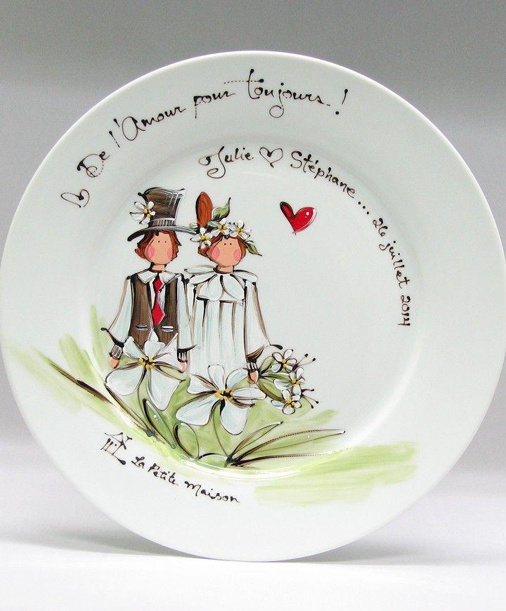 Assiette ronde mari s faites personnaliser votre cadeau produit peint la main - Cadeau mariage personnalise ...