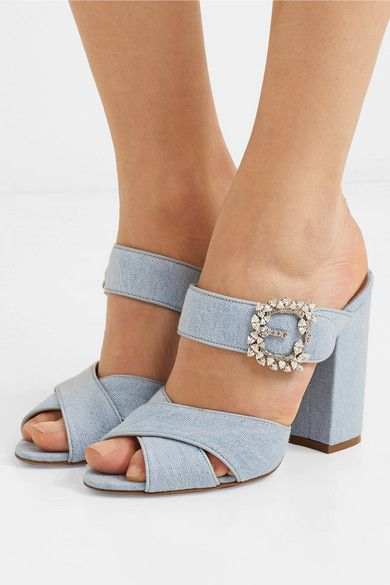 Reyner Crystal-embellished Denim Mules - Mid denim Tabitha Simmons FO3InWR8tC