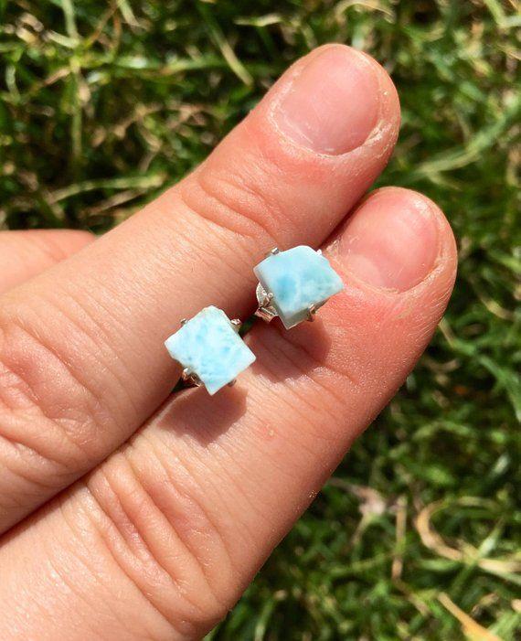 9f9c28c72 Raw Larimar Stud Earrings sterling silver - Larimar Earrings - Larimar  Jewelry - raw larimar stone