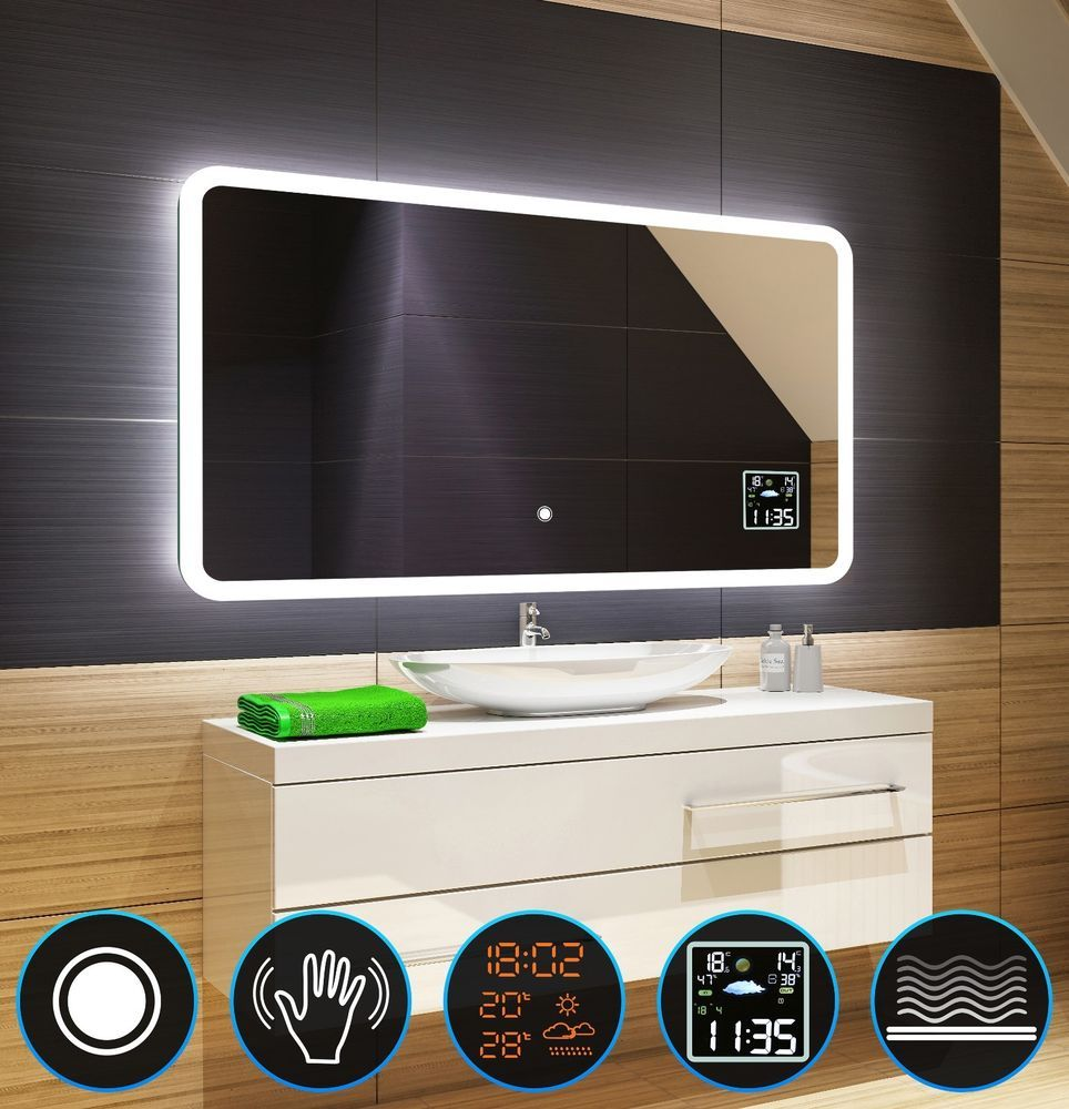 Led Illuminated Bathroom Mirror Switch Weather Station S2 S3 Demister Pad L59 Bathroom Mirror Mirror Weather Station