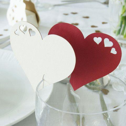 Pack Of 10 Heart Design Place Card Kraft Brown