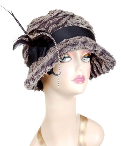 Grace Cloche Hat Desert Sand Charcoal Faux Fur with Feather  #millinery #hat #hats #passion4hats #pandemonium # feathers #pandemoniumhats #pandemoniummillinery #Seattle #WA #handmade #madeinUSA #fauxfur #crueltyfree #vintage #classic #cancer #chemotherapy #alopecia #hairloss