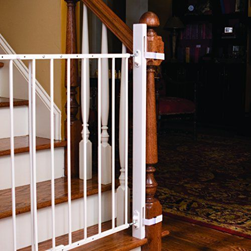 2-In-1 Stairway and Hallway Baby Gate Ships free Includes Banister /& wall kits