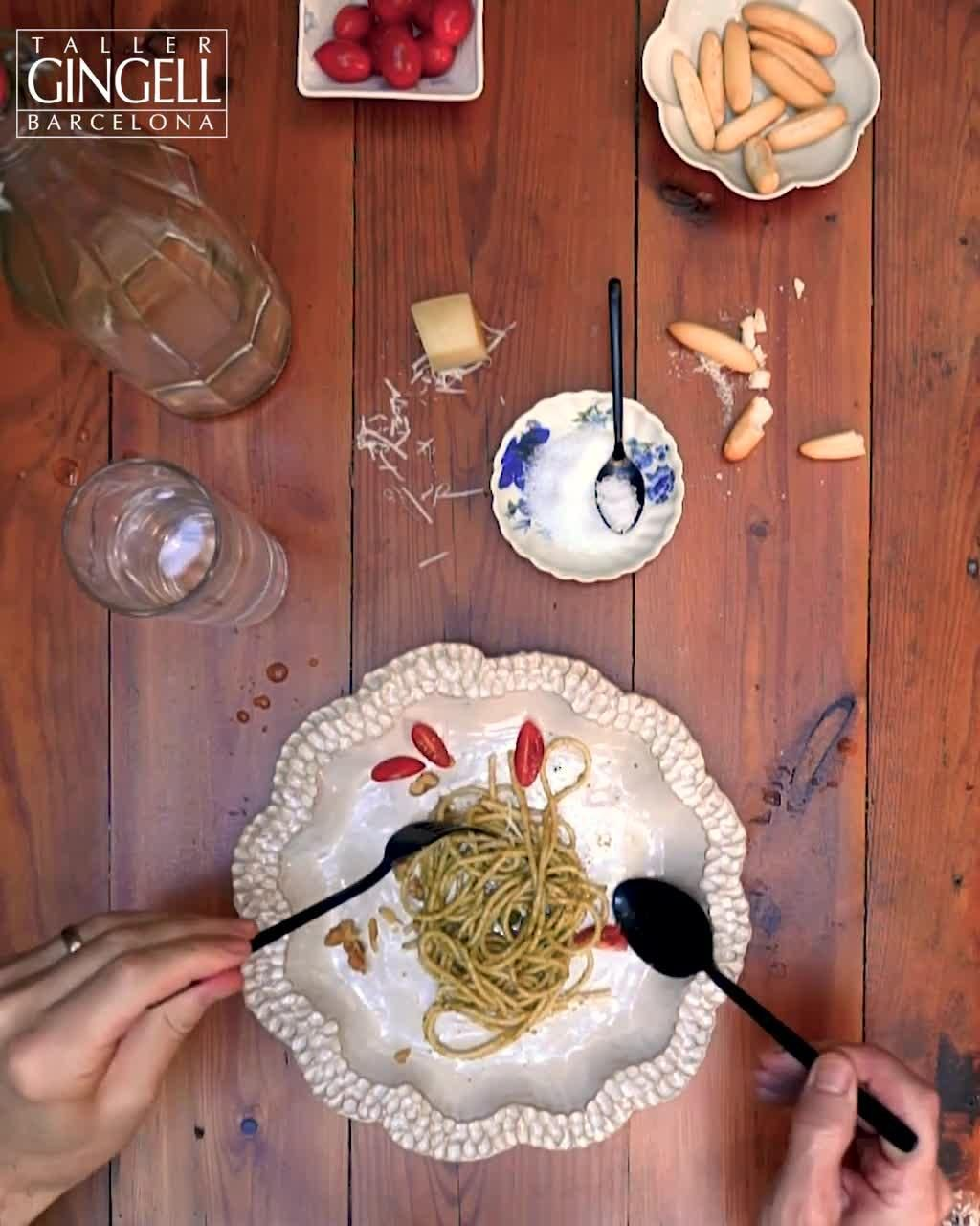Delicious pasta 🍝  and pesto with some fresh basil 🌿 , tomatoes 🍅 , and crushed walnuts. Add in some rolly bread pipas and handmade contemporary ceramics you are ready to dine.  #pasta #pesto #walnuts #parmesan #cheese #delicious #yum #dinnerware #tableware #tablesetting #ceramics #onthetable #serveware #design #home  #tabletop #design #handmade #pipas #foodie #dinner #foodphotography #lunch #healthy #studiopottery #studioceramics #interiordesign #barcelona #stoneware #functionalceramics
