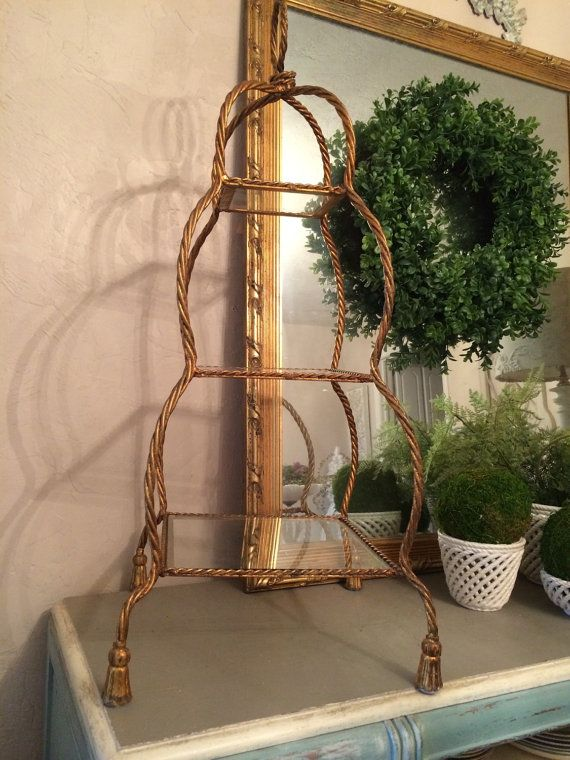 Vintage Gilt Etagere Large Gilt Tiered Etagere Stand Gilt Tole Etagere Display Stand Hollywood Regency