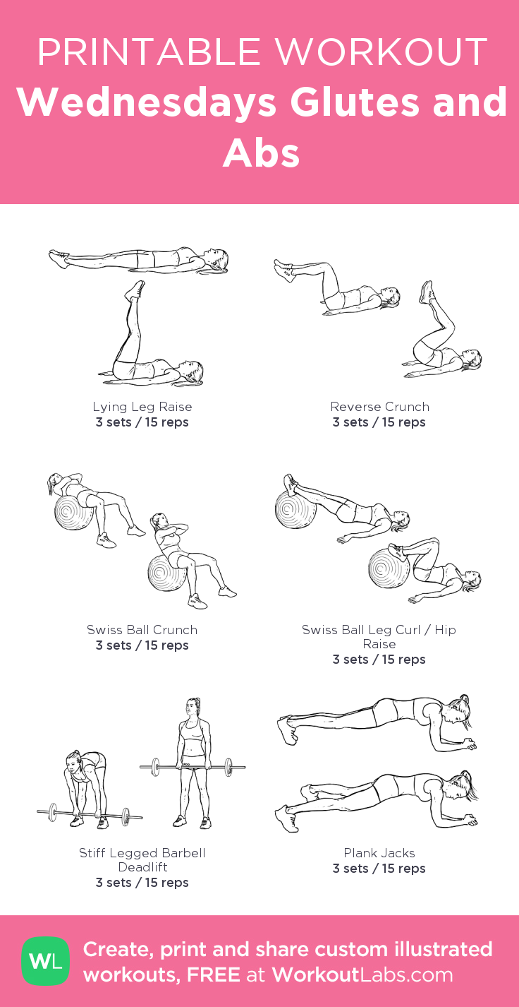 graphic relating to Printable Ab Workout titled Wednesdays Glutes and Ab muscles: my tailor made printable training by means of