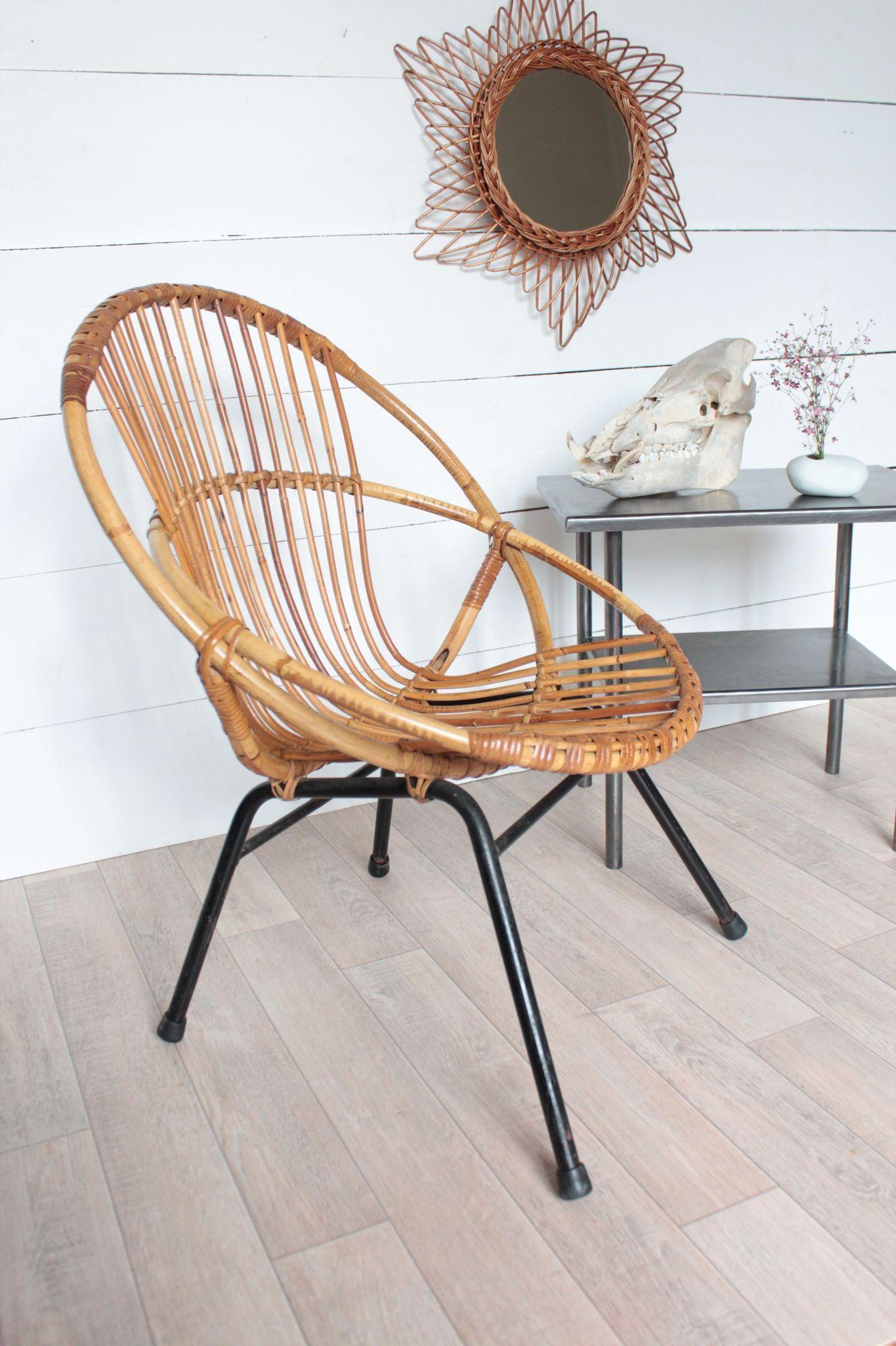 fauteuil coquille vintage en rotin adulte Trendy Little 1