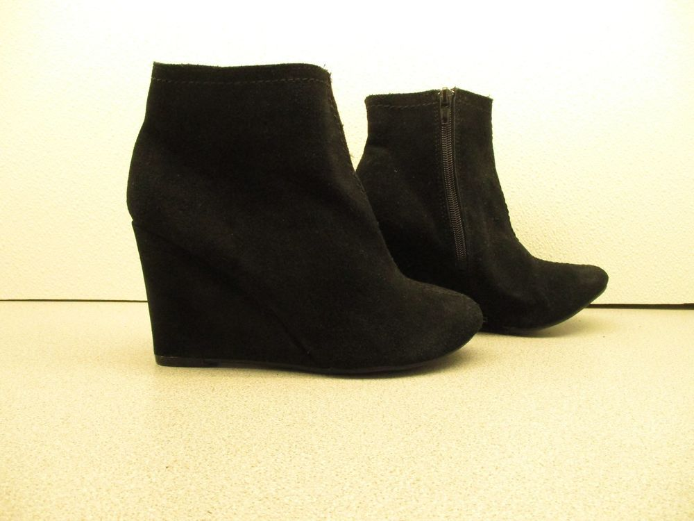 Chinese Laundry At Once Black Suede Wedge Ankle Boots Size 7m