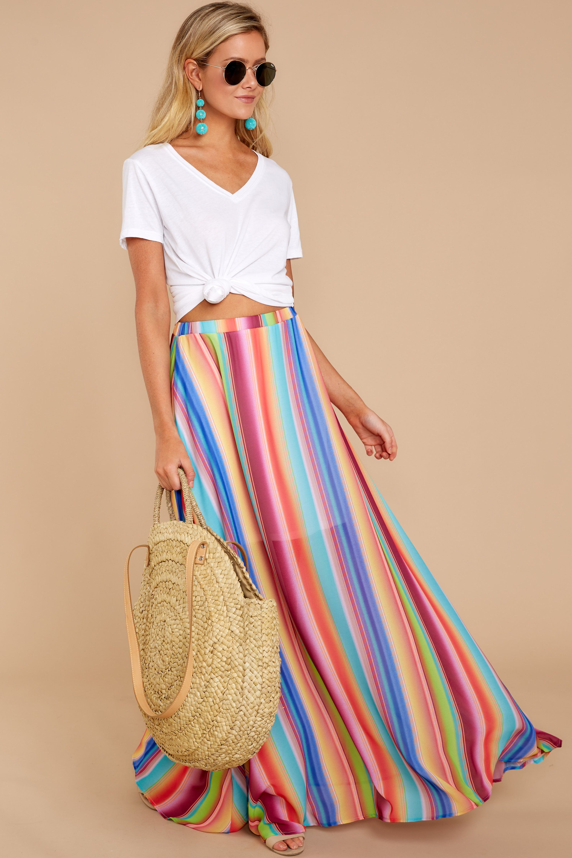 07f10a221a Chic Orange Rainbow Maxi Skirt - Trendy Maxi Skirt - Skirt - $38.00 – Red  Dress
