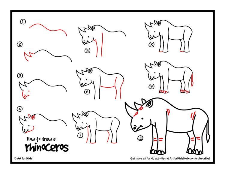 How To Draw A Rhinoceros - Art For Kids Hub - | Rhinoceros ...