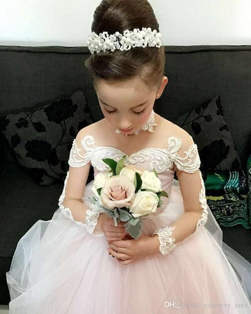 Blush pink ball gown flower girls dresses for weddings sheer neck