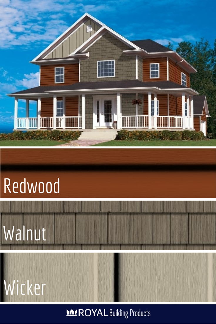 Spice Things Up With Haven Insulated Siding In Redwood With Accented Architectural Details With Walnut Portsm Vinyl Siding House Insulated Siding Vinyl Siding
