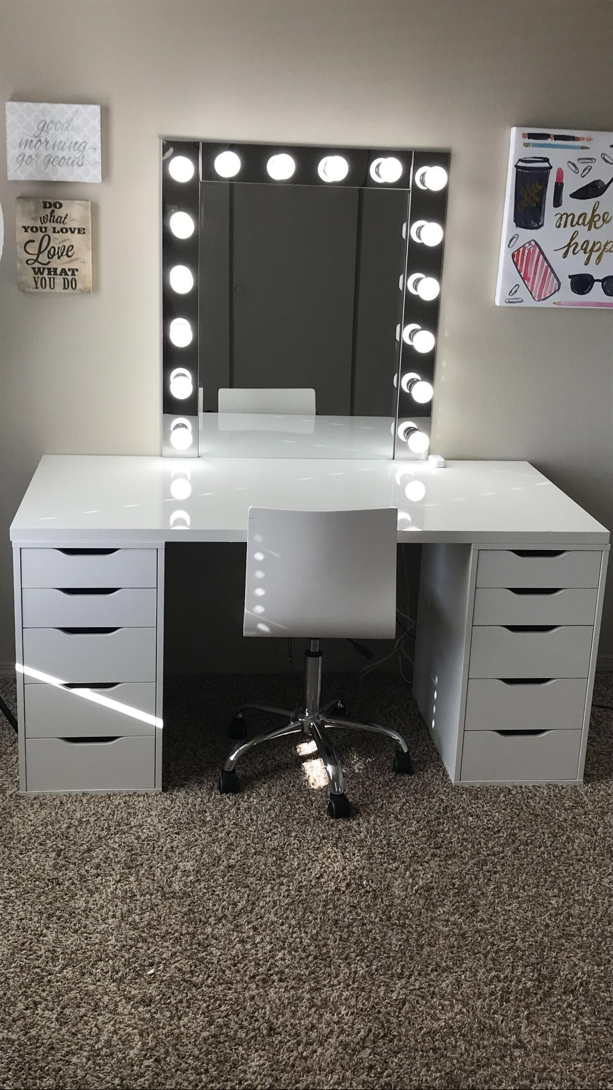 Makeup room inspiration! I love this vanity in my Makeup room