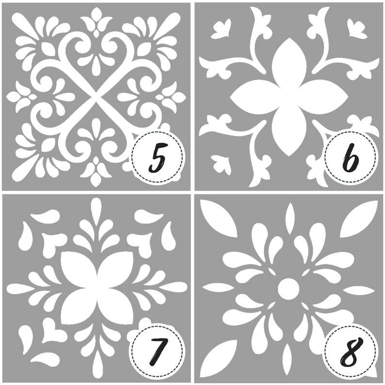 Template Or Stencil With Tile Designs And Mandalas Tile Stencil Mandala Painting Stencil For Paint Stencil Painting Tile Stencil Stencil Decor