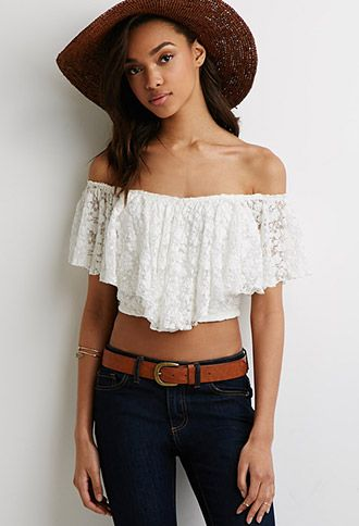 abf2735176b84 Off-the-Shoulder Lace Crop Top