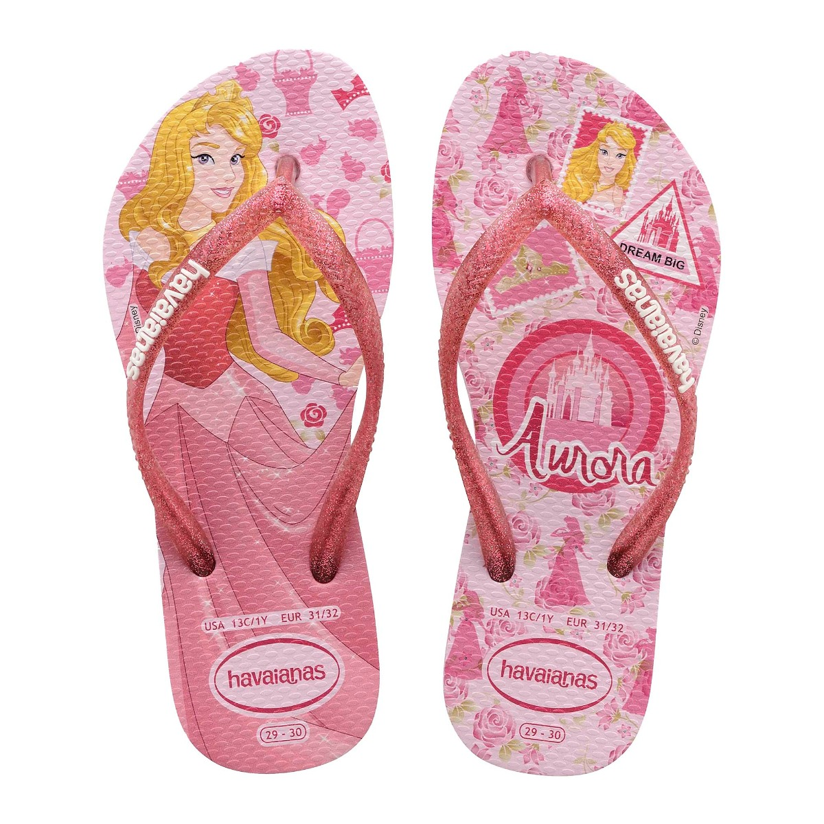 Havaianas Girls Slim Princess Flip Flops Rose Quarts