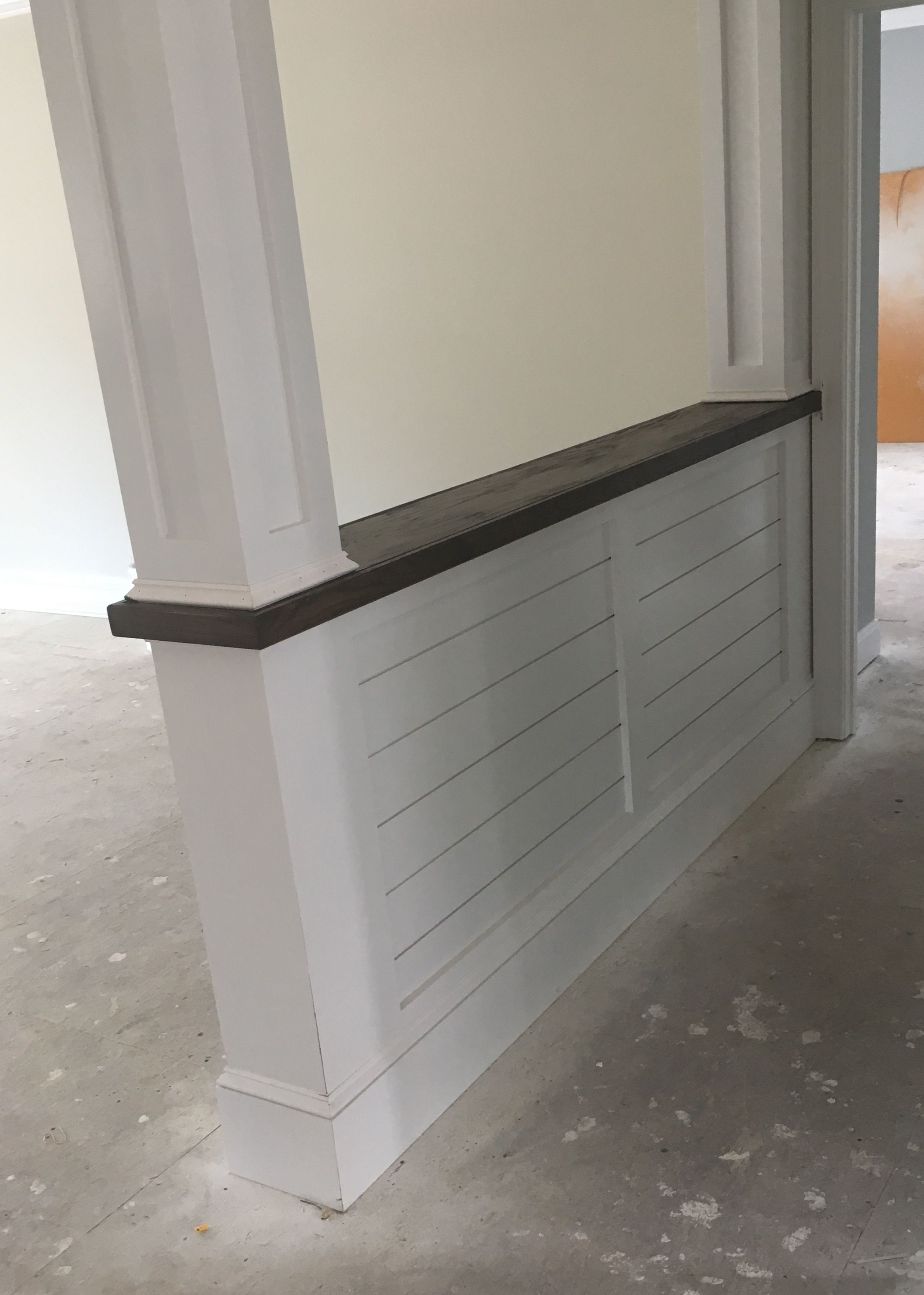 Knee wall bookcase with shiplap detail. Stained top to match ...