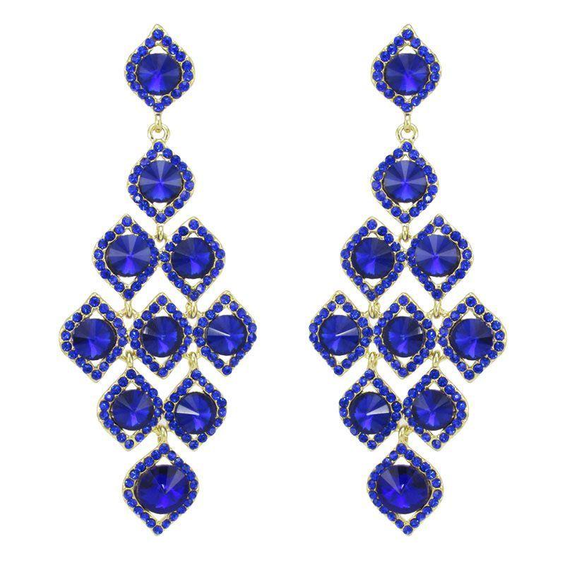 Maxi brinco dourado de festa com pedras na cor azul