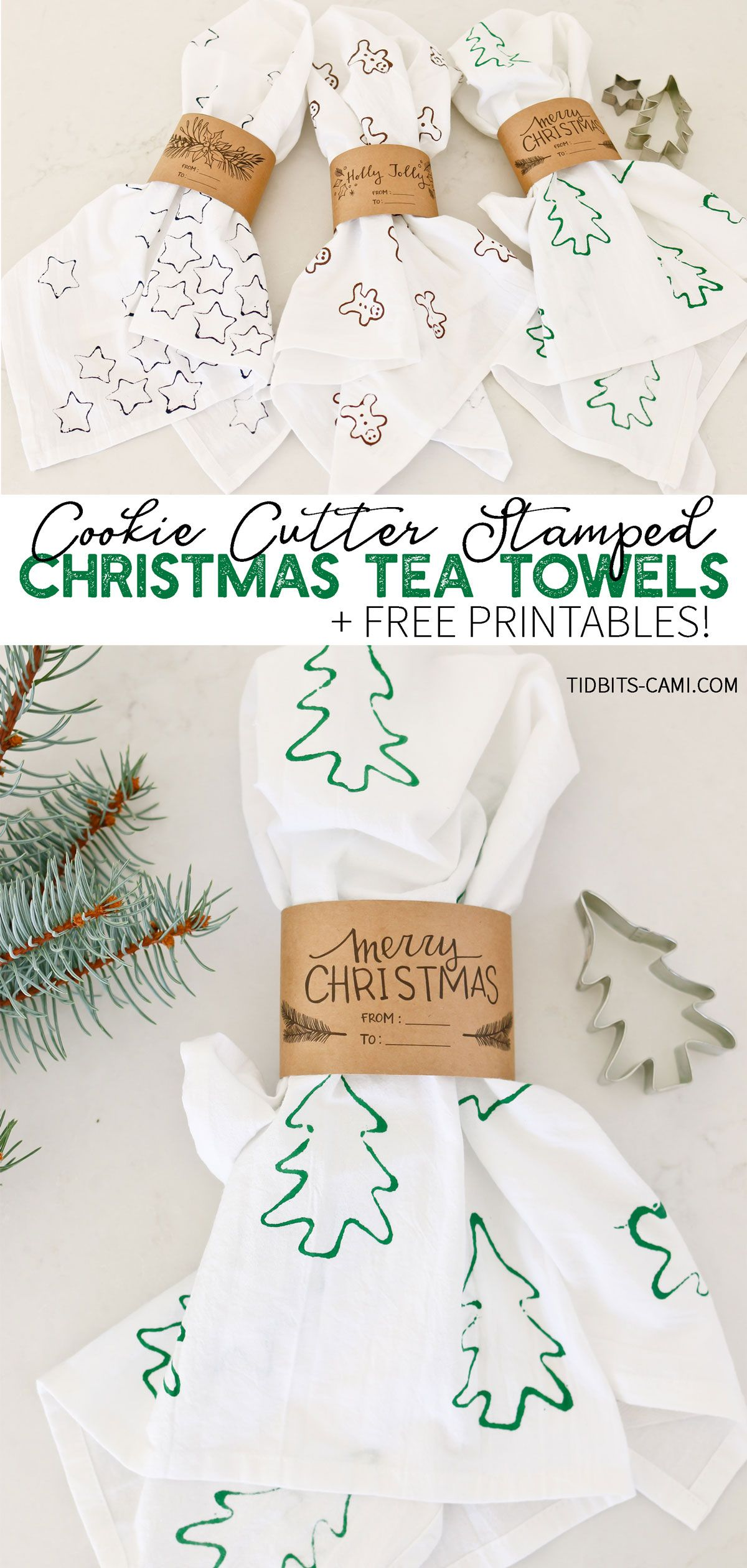 Cookie Cutter Stamped Christmas Tea Towels - Tidbits