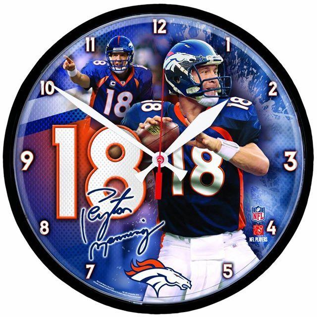 #Denver #Broncos Manning Round Clock. Get it at http://amzn.to/1p5SAap . #broncosnation #godenver