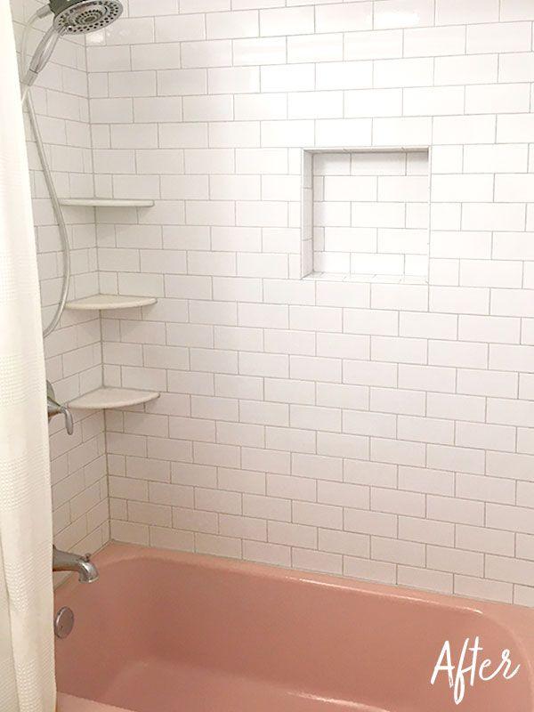 Typical Miltons Master Bathroom Finishing The Tile Caulking Subway Original Pink Bathtub Niche Marble Shelves Retro Vintage Bath Tub