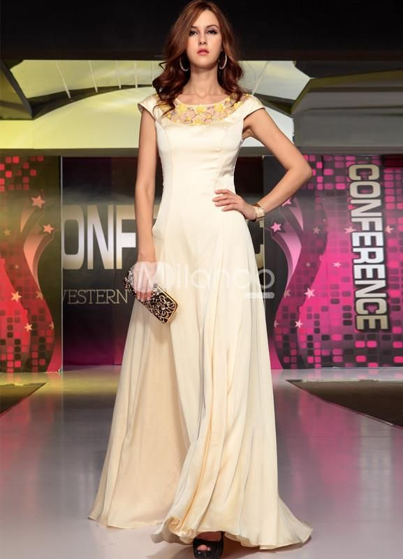 Unique Champagne Beading Silk-Like Womans Evening Dress. Unique Champagne Beading Silk-Like Womans Evening Dress. See More Colorful Dresses at http://www.ourgreatshop.com/Colorful-Dresses-C972.aspx