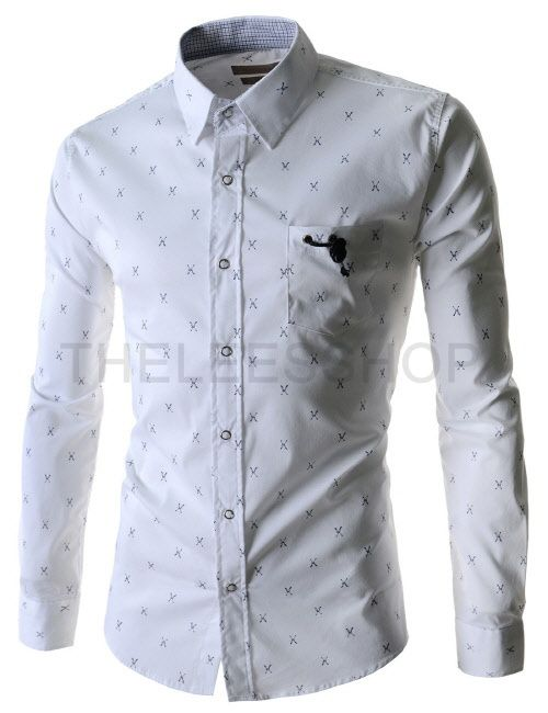 9d40b75572deb Camisas Masculina · (HAL32-WHITE) Mens Hidden Button Down Collar Arrow  Pattern Stretchy Long Sleeve Shirts