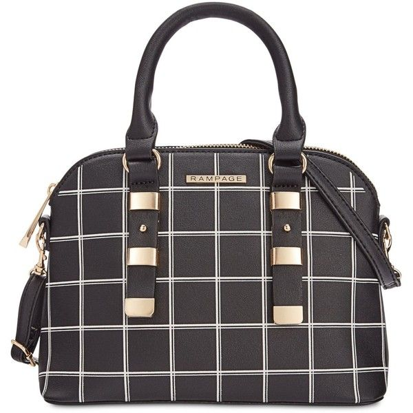 Rampage Dome Satchel ($78) ❤ liked on Polyvore featuring bags, handbags, checkered, structured bag, structured purse, checked bag, print bags and pattern purse