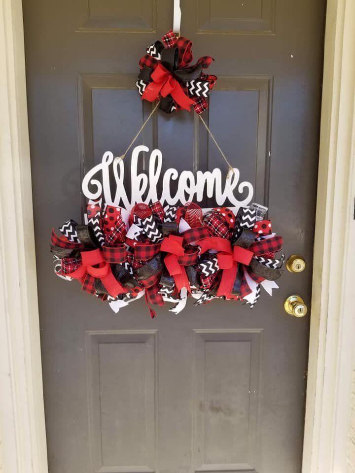 Welcome Wreath Christmas Front Door Wreath Rail Door
