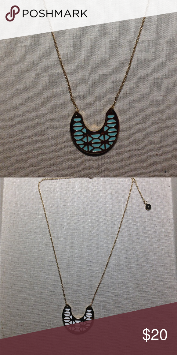 Blue/white and gold reversible necklace Great shape/ like new Stella & Dot Jewelry Necklaces