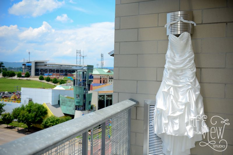 Chattanooga Wedding, Dress with View of Downtown, Chattanooga Wedding Photography
