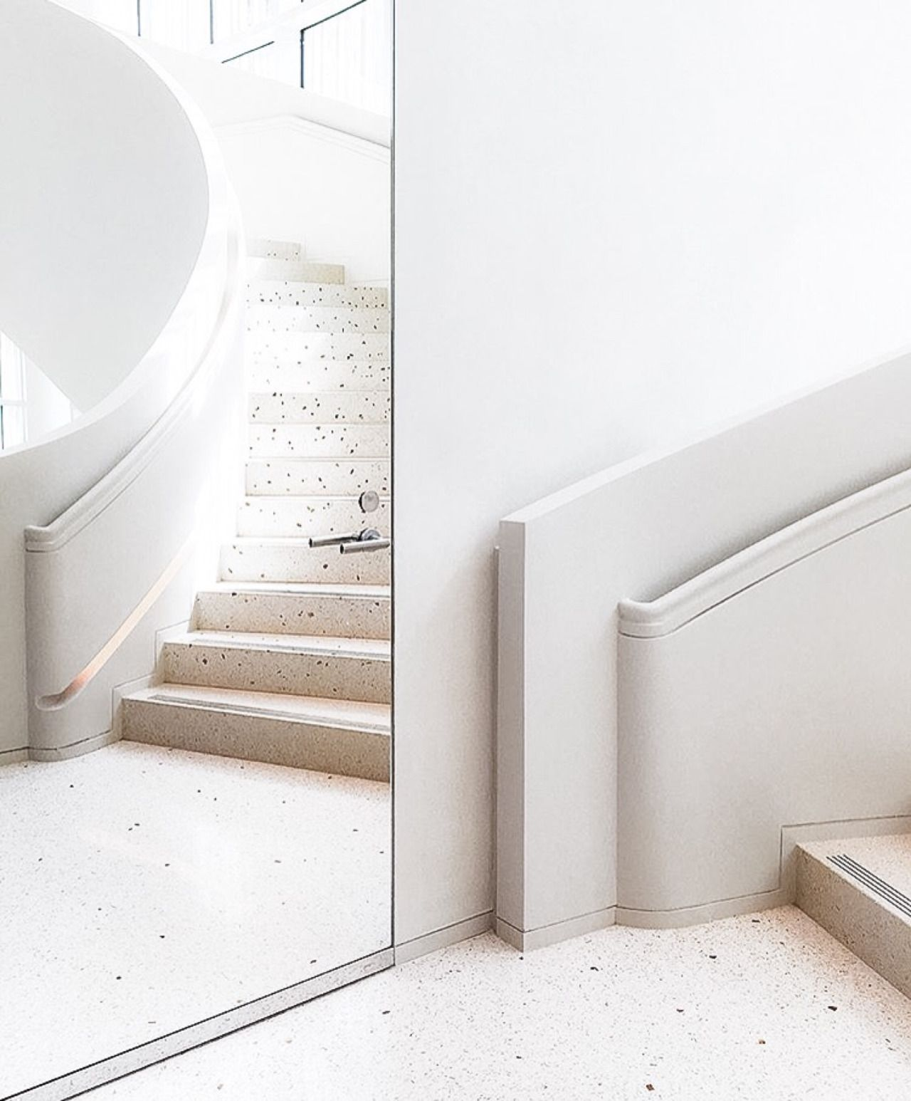 Absolutely Beautiful Sweeping Staircase Inside Hermes Store In Miami    Mirrored Door U0026 Integrated Stair Rail