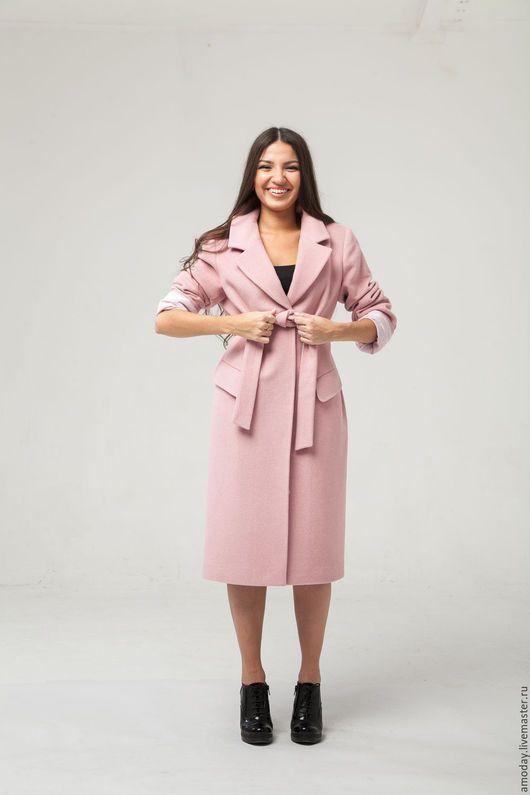bcca94d6f11 Пальто ручной работы дизайнерское в современном классическом стиле  демисезонное из кашемира и шерсти цвета пыльной розы