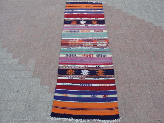 """Turkish Runners Handwoven Kilim Traditional Wool Rug Carpet 24"""" x 89.5"""""""" inches - runner for basement (7ft)"""