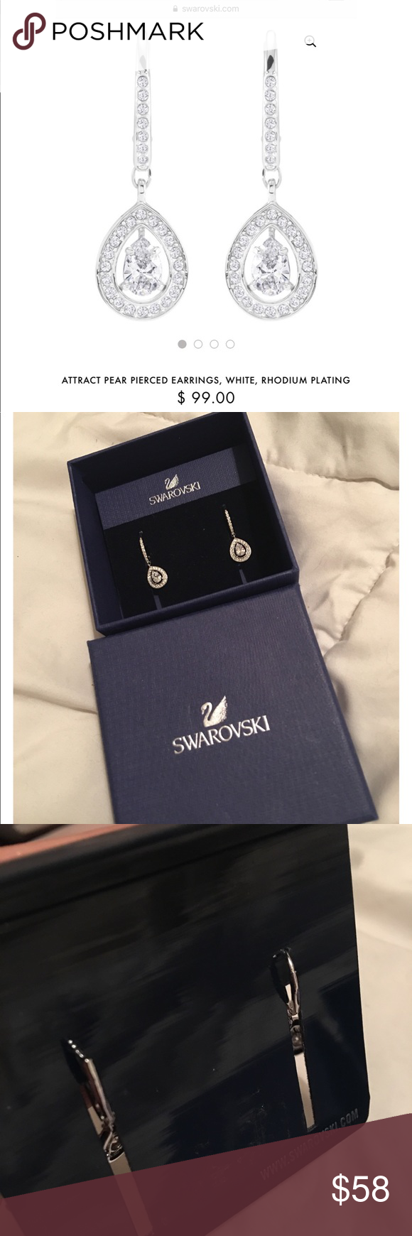 b225c14c01cd98 SWAROVSKI ATTRACT PEAR PIERCED EARRINGS A stunning new addition to  Swarovski s bestselling Attract family. This